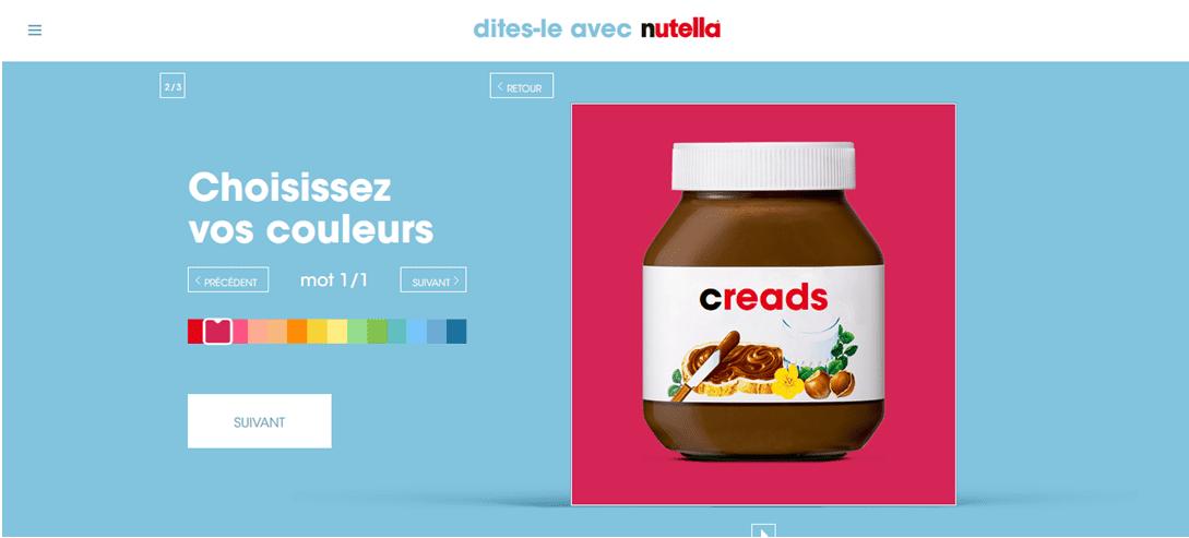 Pot Nutella sur lequel la marque a été remplacée par Creads (le nom de l'agence rédigeant cet article)