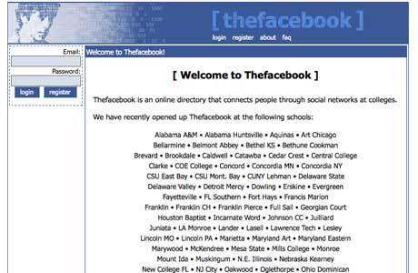 premiere version du site facebook