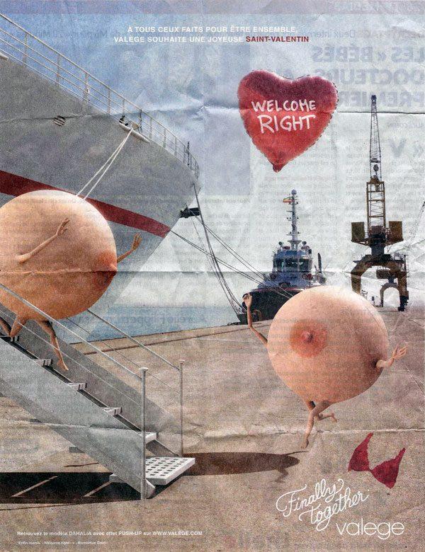 Un publicité de la marque de soutien-gorge Valège à l'occasion de la Saint-Valentin parue dans 20 Minutes.
